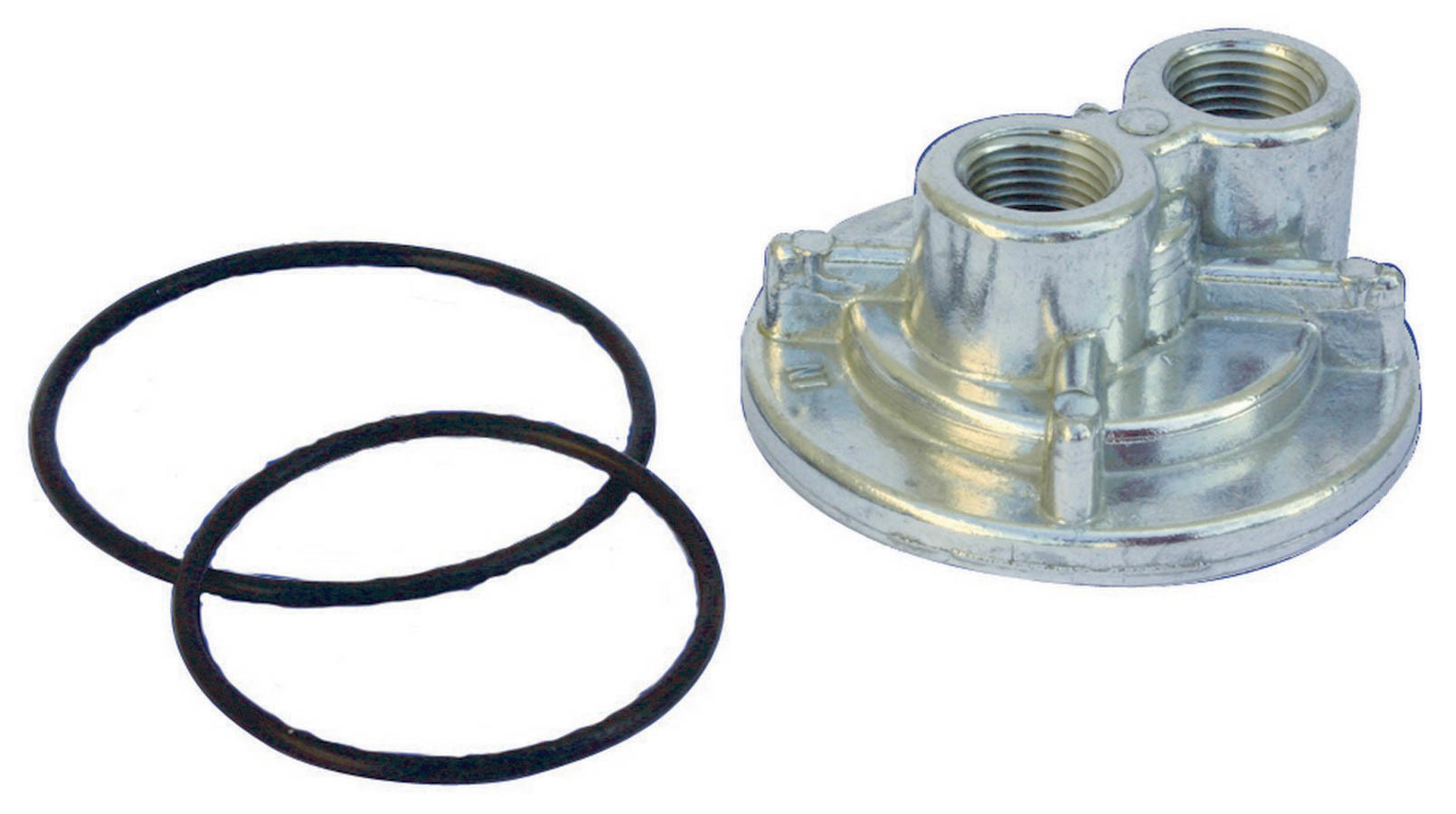 Perma Cool 114 Oil Filter Adapter, Bypass, 13/16-16 in Center Thread, Two 1/2 in NPT Female Ports, Billet Aluminum, Natural, Each