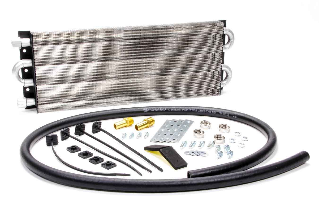Perma Cool 13161 Fluid Cooler, Heavy Duty, 21 x 7 x 1-1/2 in, Tube Type, 3/8 in NPT Female Inlet, 3/8 in NPT Female Outlet, Hose, Aluminum, Black Paint / Natural, Dodge Cummins, Kit