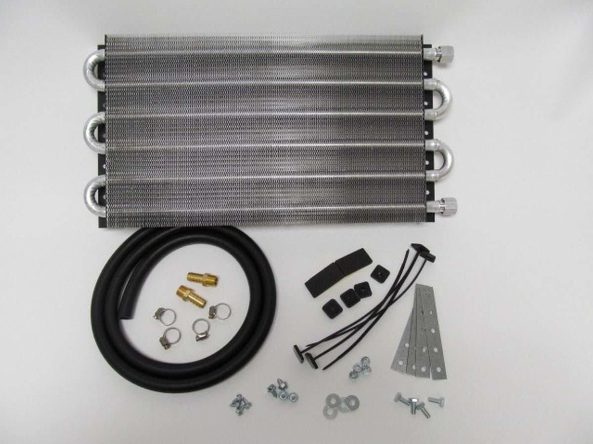 Perma Cool 13181 Fluid Cooler, HD Diesel, 1-1/2 x 10-1/2 x 21 in, Tube Type, 3/8 in NPT Female Inlet / Outlet, 1/2 in Hose Barb Adapters, Hardware / Hose , Aluminum, Natural, Transmission, Kit