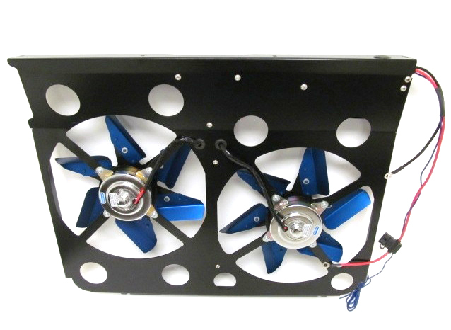 Perma Cool 19524 Electric Cooling Fan, Cool-Pack, Dual 13 in Fan, Puller, 5900 CFM, Paddle Blade, 28-1/2 x 17 in Tall, Aluminum, GM Fullsize Truck 1992-2003, Kit