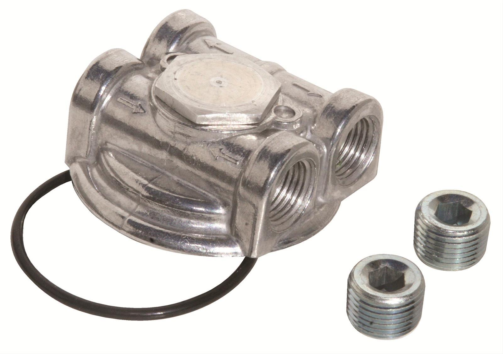 Perma Cool 3791 Oil Filter Adapter, Bypass, 3/4-16 in Center Thread, 1/2 in NPT Female Inlet / Outlet, O-Ring / Plugs, Included, Aluminum, Natural, Each