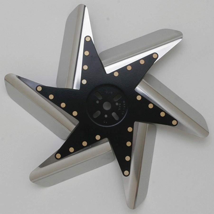 Perma Cool 85170 Mechanical Cooling Fan, Turbo Flex, 17 in Fan, 6 Blade, 5/8 in Pilot, Universal Bolt Pattern, Steel Hub / Stainless Blades, Polished / Black Center, Each