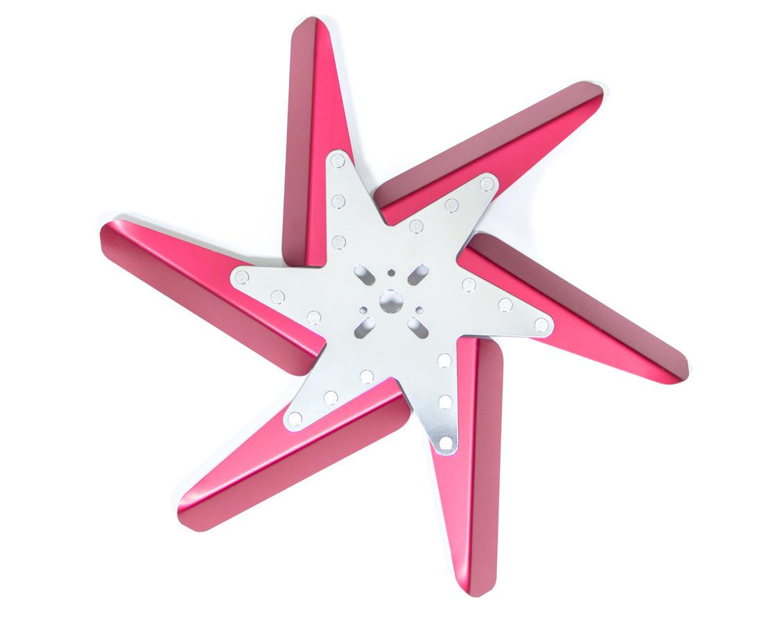 Perma Cool 93172 Mechanical Cooling Fan, Flex Fan, 17 in Fan, 6 Blade, 5/8 in Pilot, Universal Bolt Pattern, Steel Hub/Aluminum Blades, Red Anodize/Chrome Center, Each