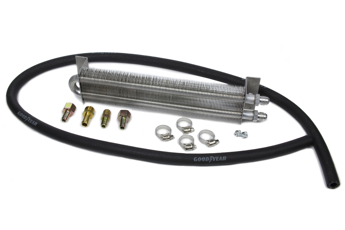 Perma Cool 997 Fluid Cooler, Two Pass System, 12 x 2-1/2 x 1-1/2 in, Tube Type, 3/8 in Hose Barb Inlet, 3/8 in Hose Barb Outlet, Brackets / Hardware / Hose, Aluminum, Natural, Kit