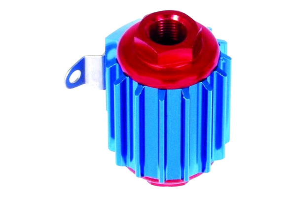 Professional Products 10214 Fuel Filter, Hi-Tech, In-Line, 35 Micron, Stainless Element, 3/8 in NPT Female Inlet, 3/8 in NPT Female Outlet, Aluminum, Blue / Red Anodize, Each