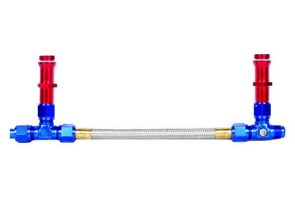 Professional Products 10401 Carburetor Fuel Line, Powerflow, 8 AN Male Inlet, 7/8-20 in Dual Outlets, Braided Stainless, Blue/Red/Silver, Holley 4500 Carburetors, Kit