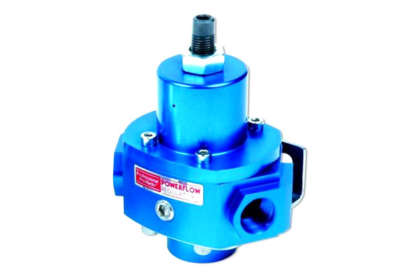 Professional Products 10656 Fuel Pressure Regulator, 4-1/2 to 9 psi, In-Line, 1/2 in NPT Inlet, Four 3/8 in NPT Outlets, 1/8 in NPT Port, Aluminum, Blue Anodize, Gas, Each