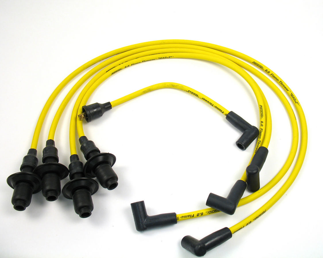 Pertronix Ignition 804505 Spark Plug Wire Set, Magx2, Spiral Core, 8 mm, Yellow, Straight Plug Boots, HEI Style Terminal, Volkswagen 4-Cylinder 1961-79, Kit