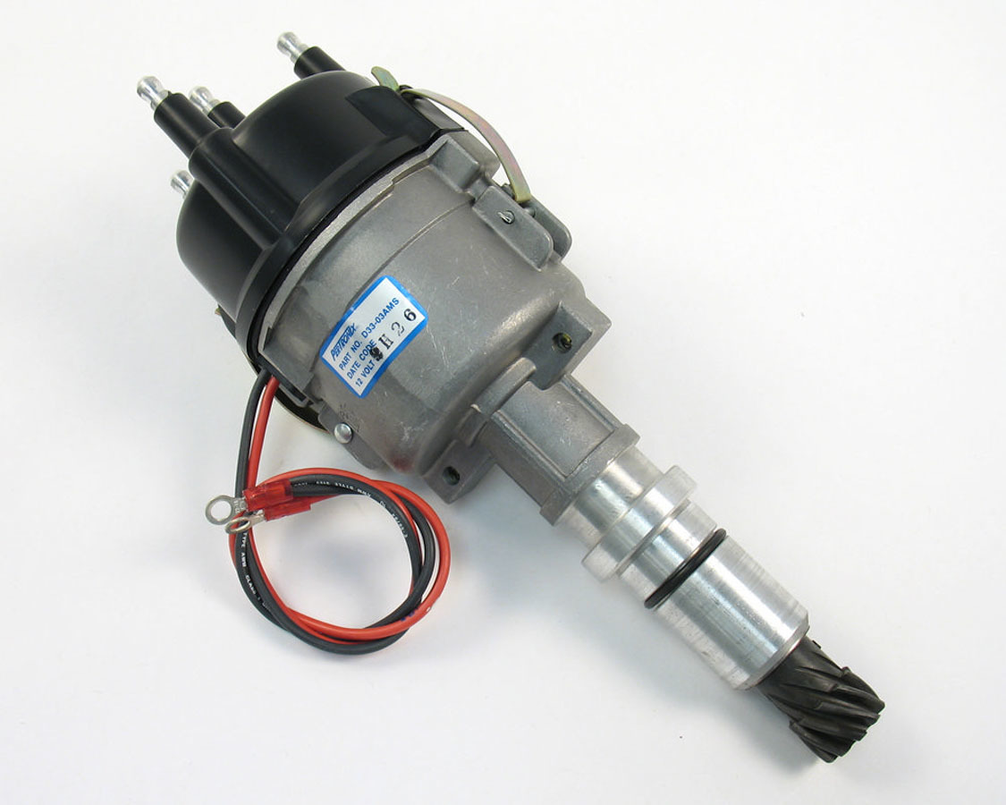 Pertronix Ignition D33-03AM Distributor, Industrial, Magnetic Pickup, Mechanical Advance, HEI Style Terminal, Black, Continental 3-Cylinder, Each