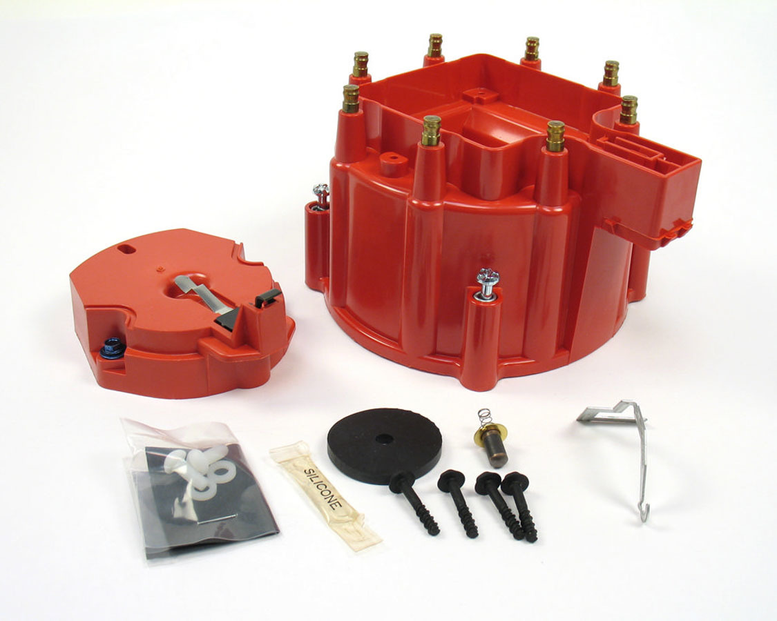 Pertronix Ignition D4001 Cap and Rotor Kit, Cap / Rotor, Red, GM HEI Style V8, Kit