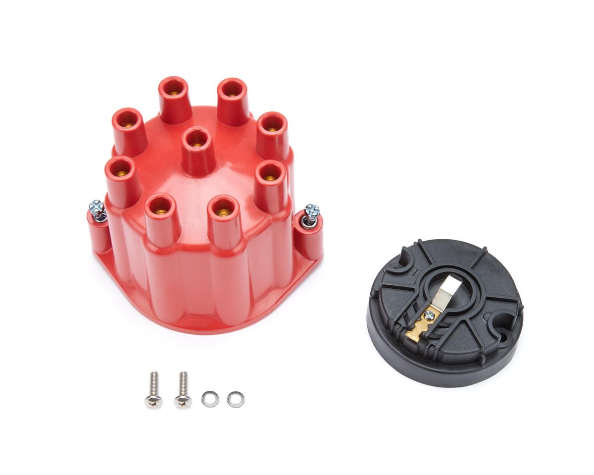 Pertronix Ignition D600701 Cap and Rotor Kit, Cap / Rotor, Socket Style, Red, Pertronix Billet V8 Distributors, Kit