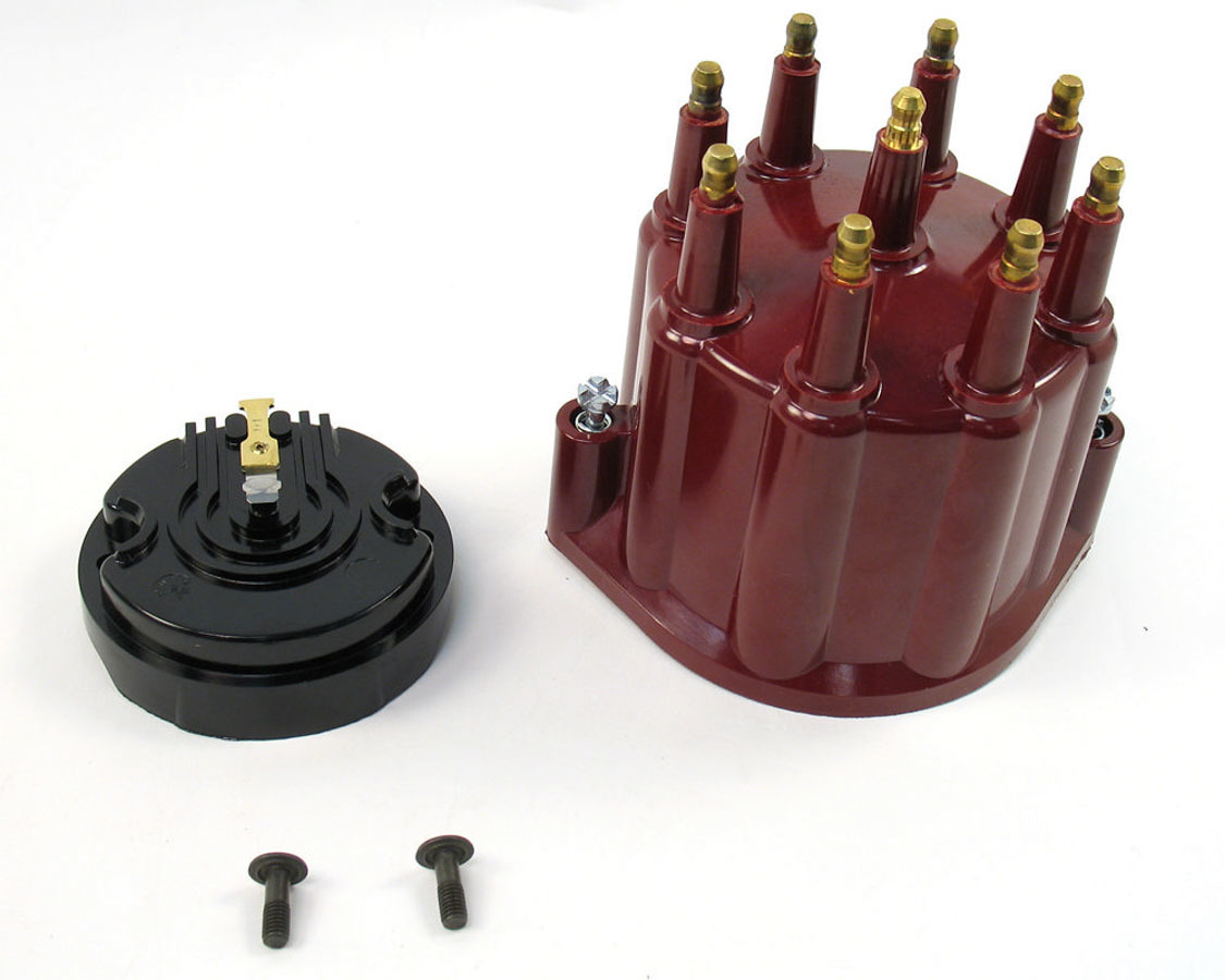 Pertronix Ignition D600711 Cap and Rotor Kit, Cap / Rotor, HEI Style Terminal, Red, Pertronix Billet V8 Distributors, Kit