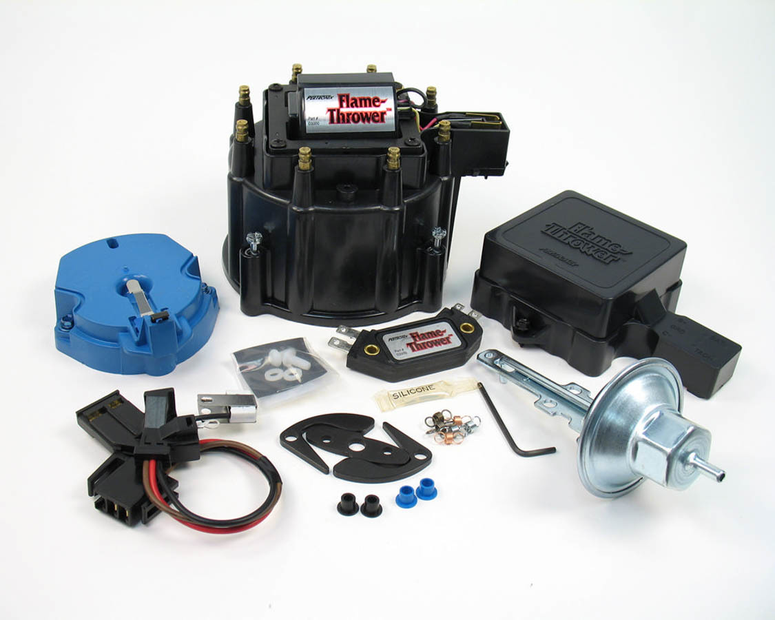 Pertronix Ignition D8000 Distributor Tune Up Kit, Cap / Coil / Module / Rotor / Vacuum Advance / Vacuum Canister, Black, Chevy / Cadillac V8, Kit
