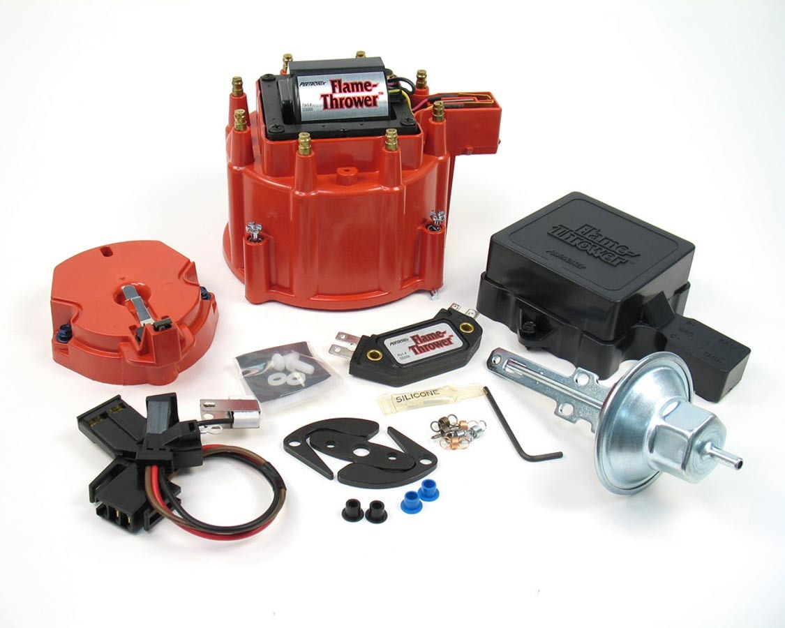 Pertronix Ignition D8001 Distributor Tune Up Kit, Cap / Coil / Module / Rotor / Vacuum Advance / Vacuum Canister, Red, Chevy / Cadillac V8, Kit