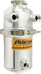 Peterson Fluid 08-0004 Oil Tank, Dry Sump, 6 qt, 15-1/2 in Tall, 6 in OD, 12 AN Female O-Ring Inlets, 12 AN Female O-Ring Outlet, 12 AN O-Ring Breather Port, Aluminum, Natural, Each