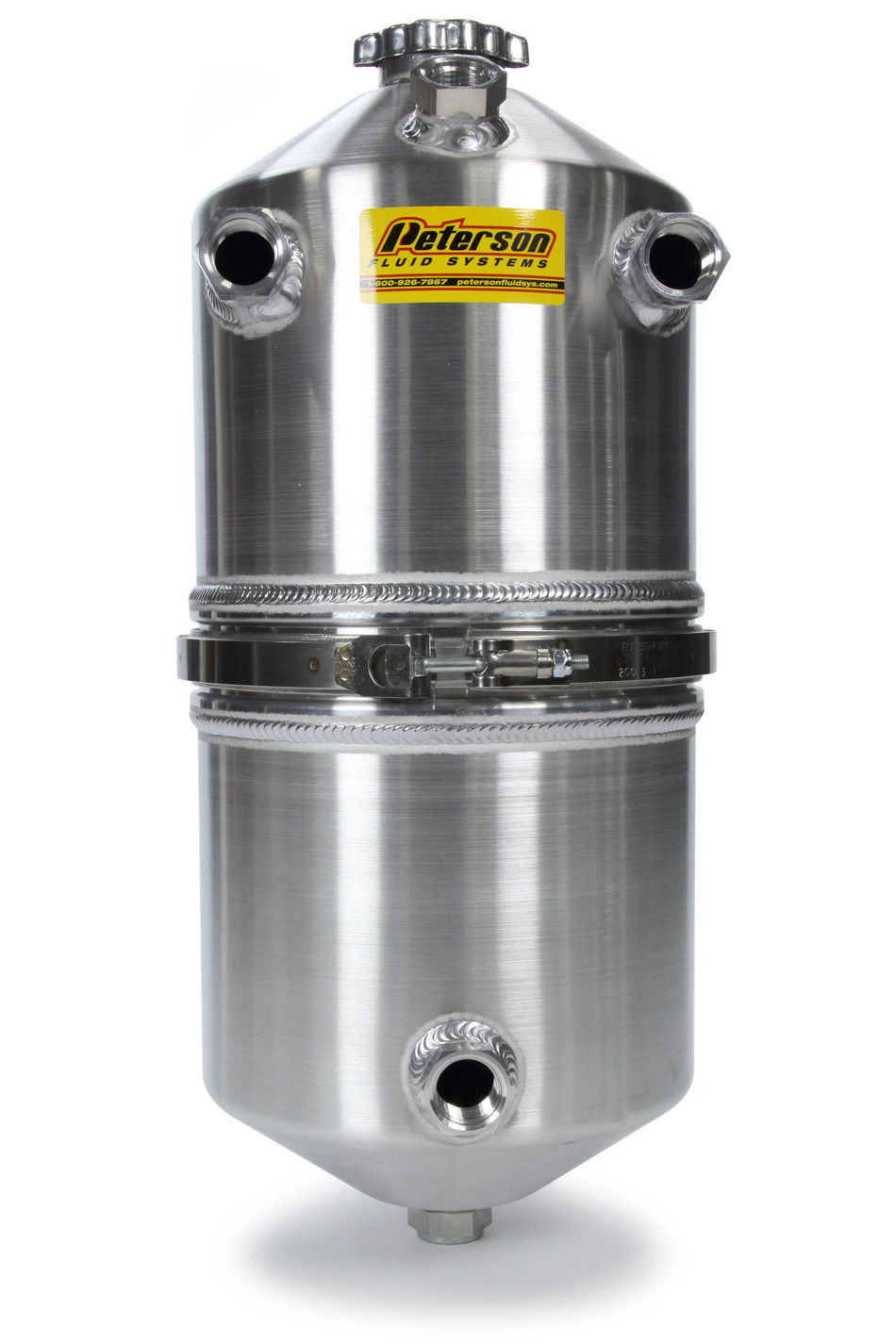 Peterson Fluid 08-0014 Oil Tank, Dry Sump, 20 qt, 22 in Tall, 9 in OD, 12 AN Female O-Ring Inlet, 12 AN Female O-Ring Outlet, 12 AN Female O-Ring Breather Ports, Aluminum, Natural, Each