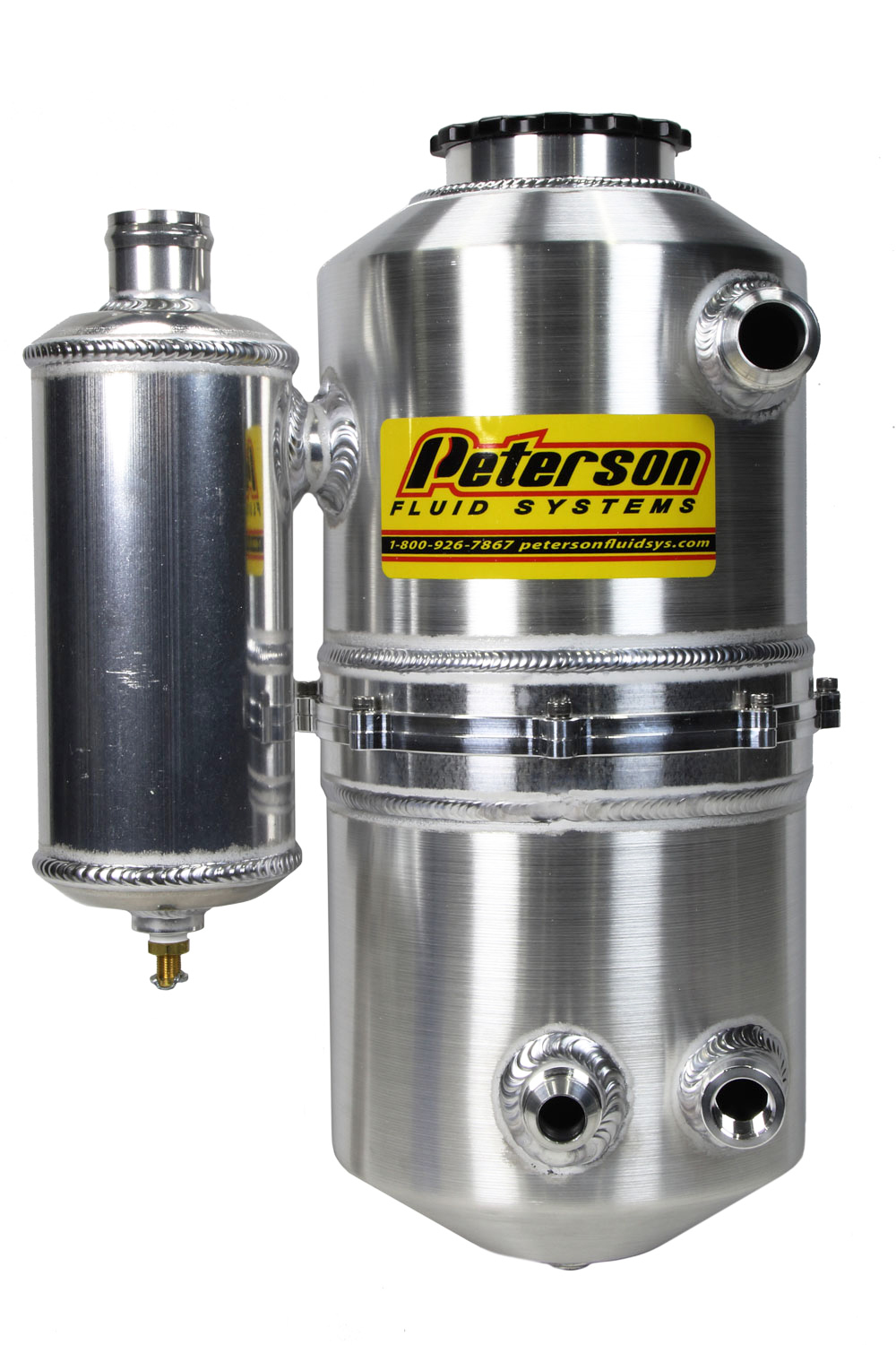 Peterson Fluid 08-0783-CC Oil Tank, Drag, Dry Sump, 10 qt, 16-5/8 in Tall, 7 in OD, 12 AN Male Inlet, 12 AN Male Outlet, Catch Can, Heater Port, Aluminum, Natural, Each