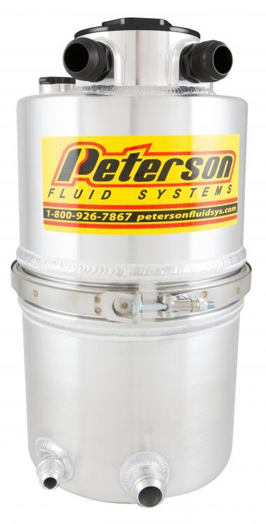 Peterson Fluid 08-9018 Oil Tank, Dry Sump, 20 qt, 21-7/8 in Tall, 9 in OD, 16 AN Male O-Ring Inlet, 16 AN Male O-Ring Outlet, Integral Breather, Filter, Aluminum, Natural, Each