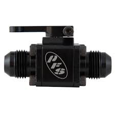 Peterson Fluid 09-0900 Shut Off Valve, Manual, Small Body, 6 AN Male to 6 AN Male, Aluminum, Black Anodize, Each