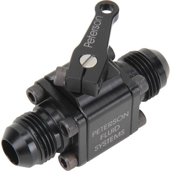 Peterson Fluid 09-0920 Shut Off Valve, Manual, Small Body, 8 AN Male to 8 AN Male, Aluminum, Black Anodize, Each