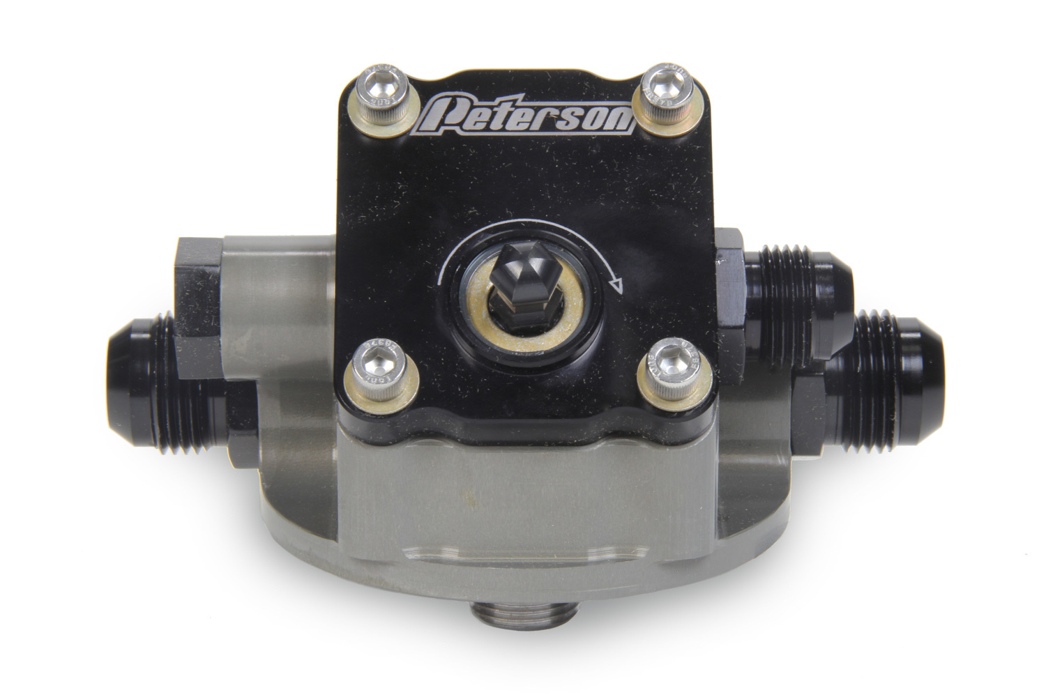 Peterson Fluid 09-1504 Oil Filter Mount, Primer Pump, 12 AN Male Ports, 13/16-16 in Center Thread, Aluminum, Gray Anodized, Universal, Each