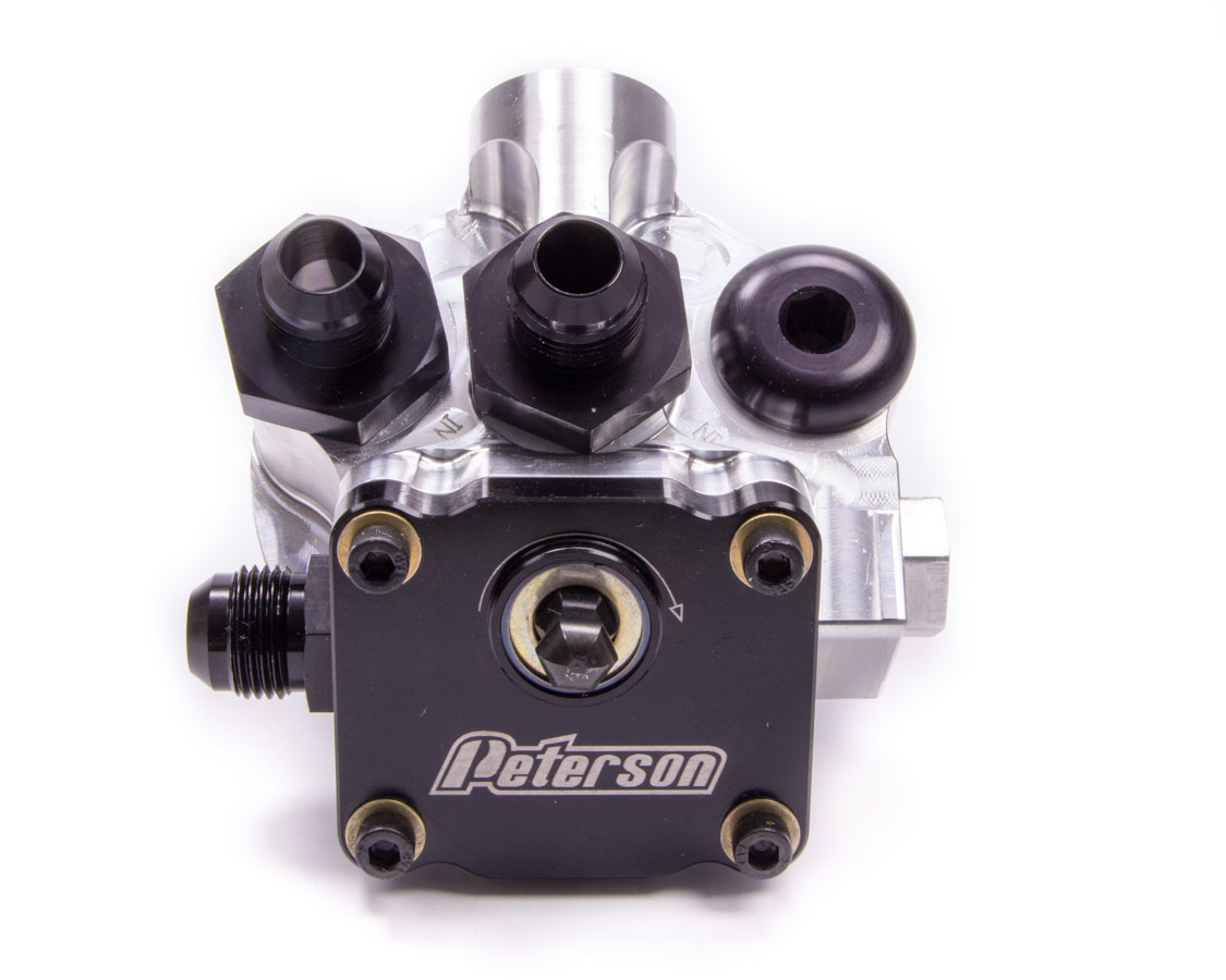 Peterson Fluid 09-1560 Oil Filter Mount, Primer Pump, 10 AN Male Ports, 1-1/2-12 in Center Thread, Aluminum, Natural, Universal, Each