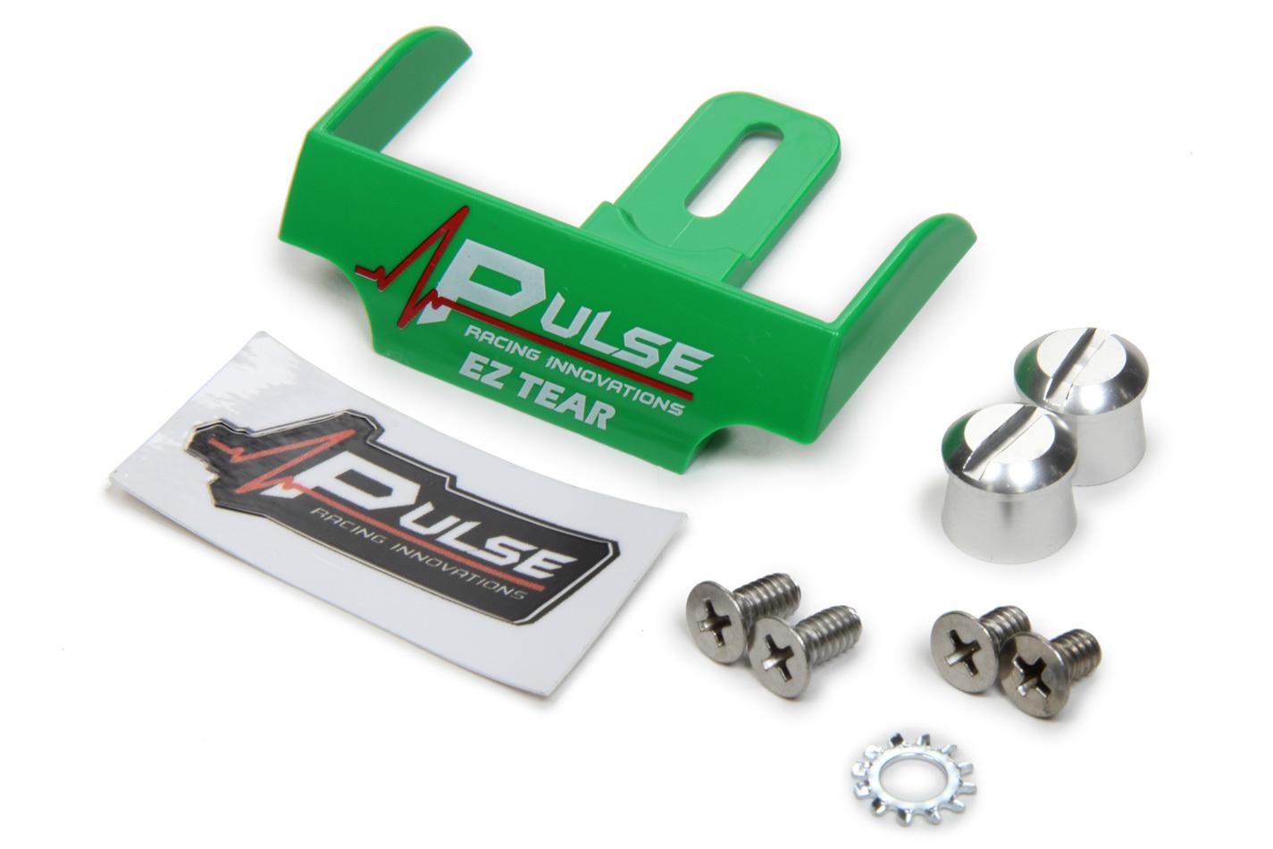 Pulse Racing Innovations EZTS102GRP Helmet Tear Off Ramp, Adjustable, Aluminum Post Included, Green, Each