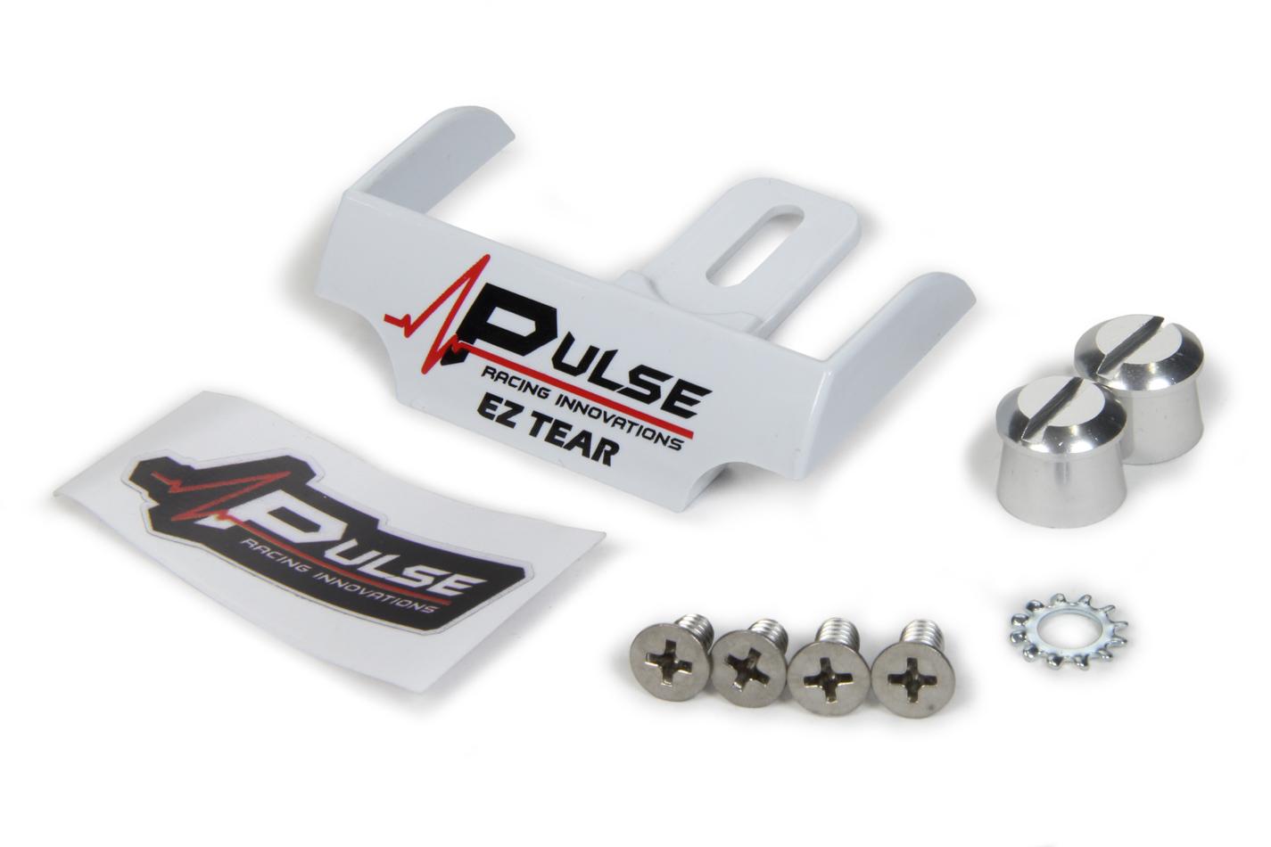 Pulse Racing Innovations EZTS102WP Helmet Tear Off Ramp, Adjustable, Aluminum Post Included, White, Kit