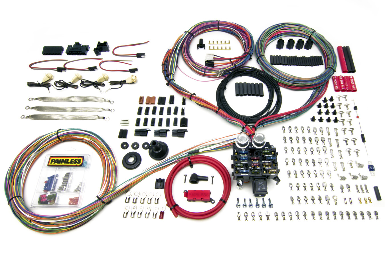 Painless Wiring 10402 Car Wiring Harness, Pro Series, Customizable, 23 Circuit, Grommet Firewall Pass-Through, In Dash Key, GM, Kit