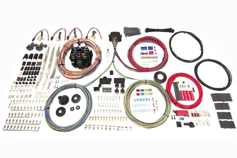 Painless Wiring 10406 Car Wiring Harness, Pro Series Truck, Customizable, 23 Circuit, Bulkhead Firewall Pass-Through, In Dash Key, GM, Kit