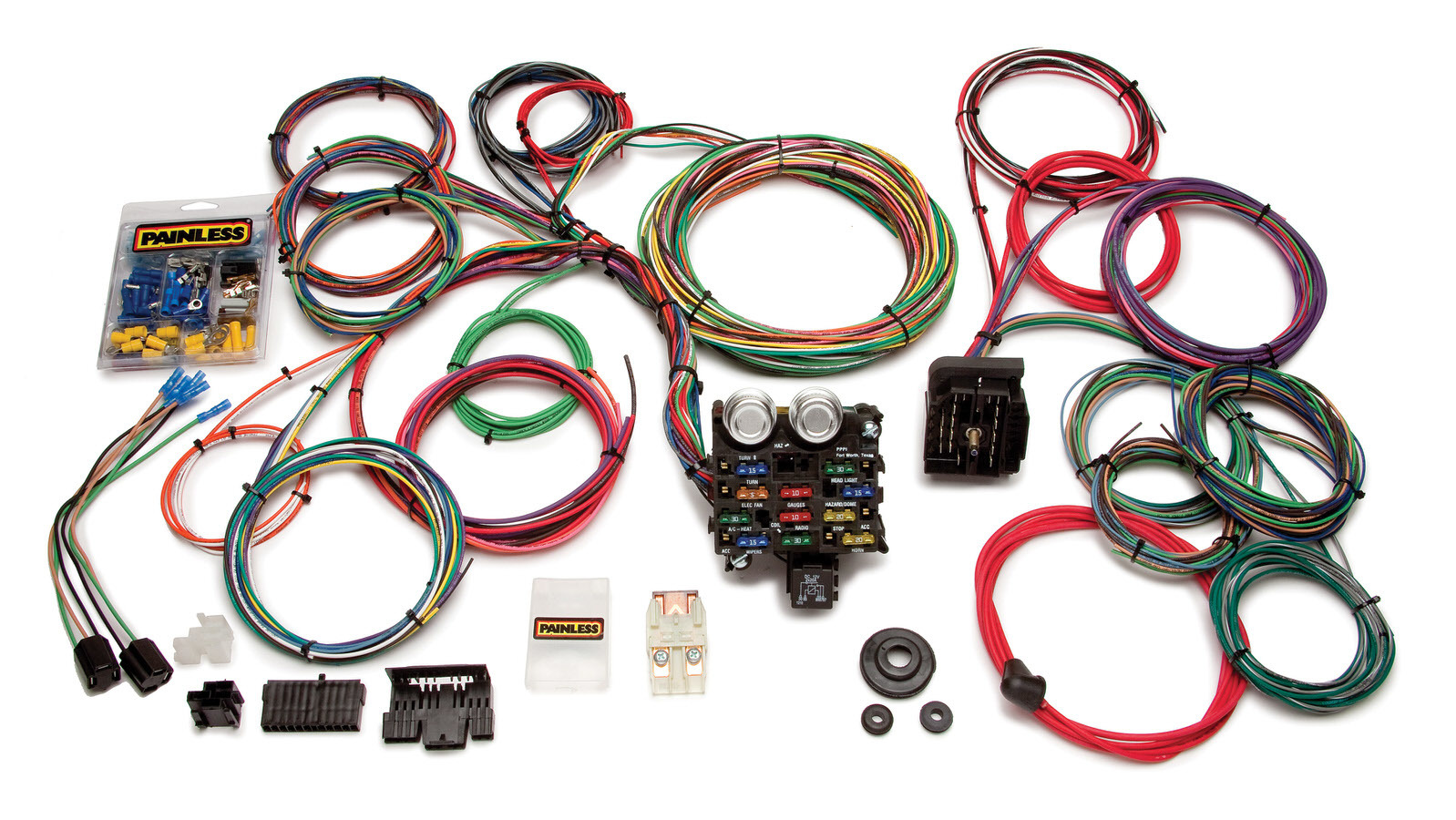 Painless Wiring 20103 Car Wiring Harness, Classic Customizable Muscle Car, Complete, 21 Circuit, Universal, Kit