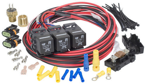Painless Wiring 30117 Fan Controller, Dual Activation / Dual Fan, 185 Degree F On, 175 Degree F Off, 3/8 in NPT Temperature Sensor, 1/2 in NPT Adapter, Harness / Relays, Kit