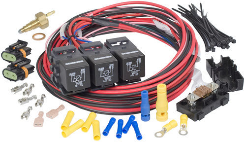 Painless Wiring 30118 Fan Controller, Dual Activation / Dual Fan, 185 Degree F On, 175 Degree F Off, 3/8 in NPT Temperature Sensor, 1/2 in NPT Adapter, Harness / Relays, Kit