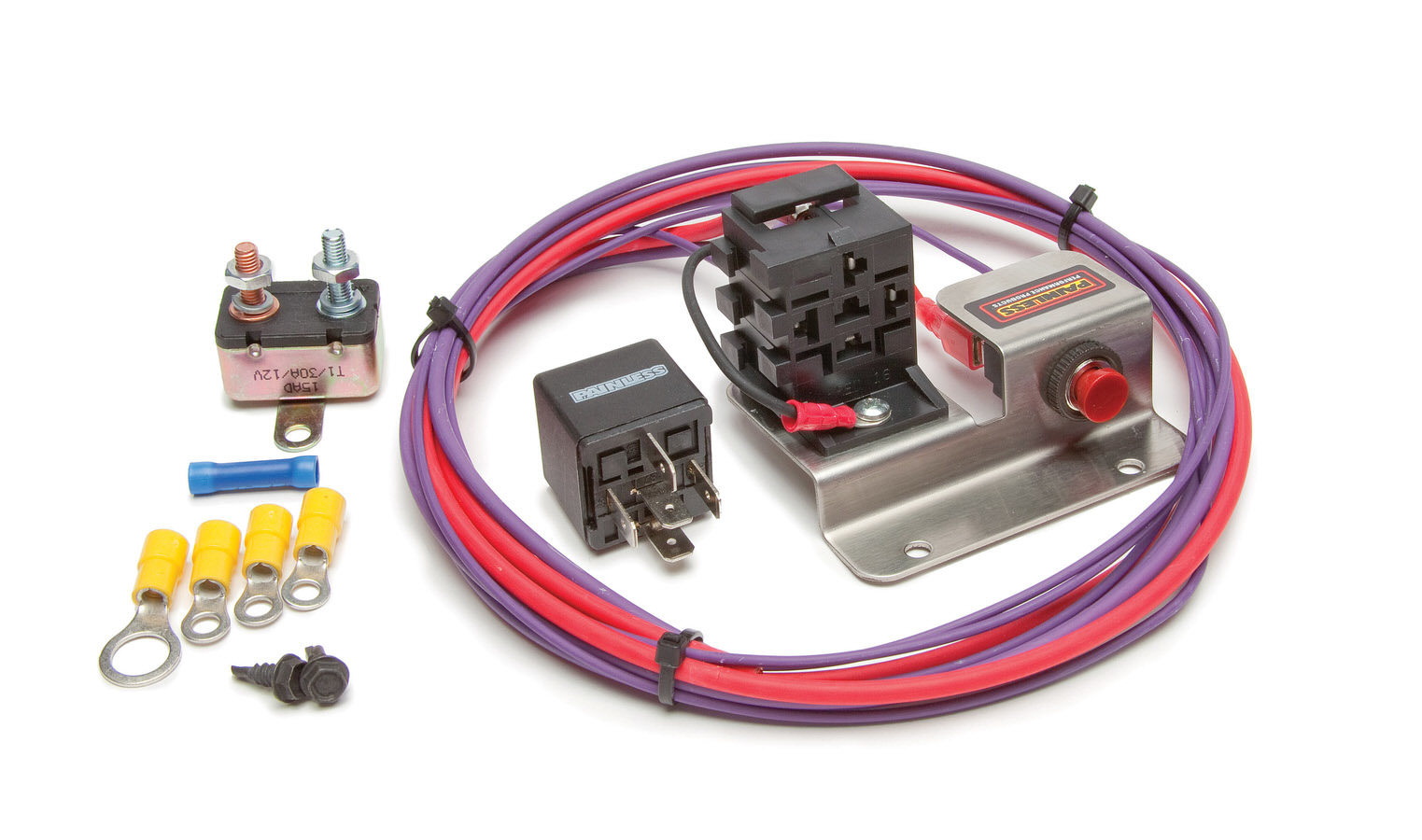 Painless Wiring 30201 Starter Relay, Hot Shot, 30 amp, 12V, Push Button Switch / Wiring Pigtail Included, Amperage Boost, Universal, Kit