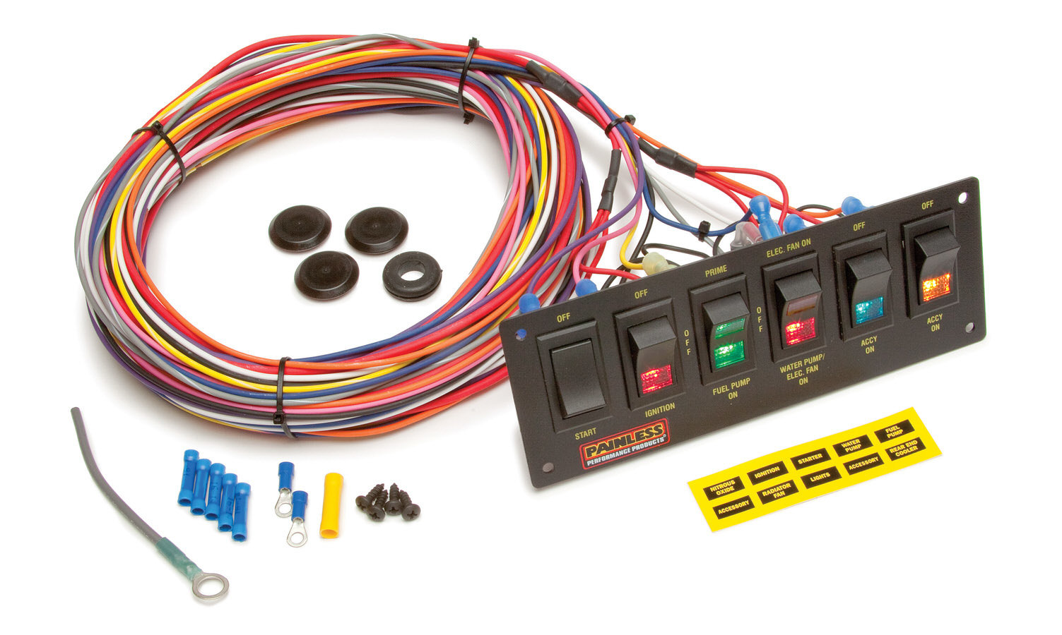 Painless Wiring 50406 Switch Panel, Dash Mount, 8-3/4 x 3 in, 1 Momentary Rocker / 3 Rockers / 2 3-Way Position Rockers, Indicator Lights, Harness, Black, Kit
