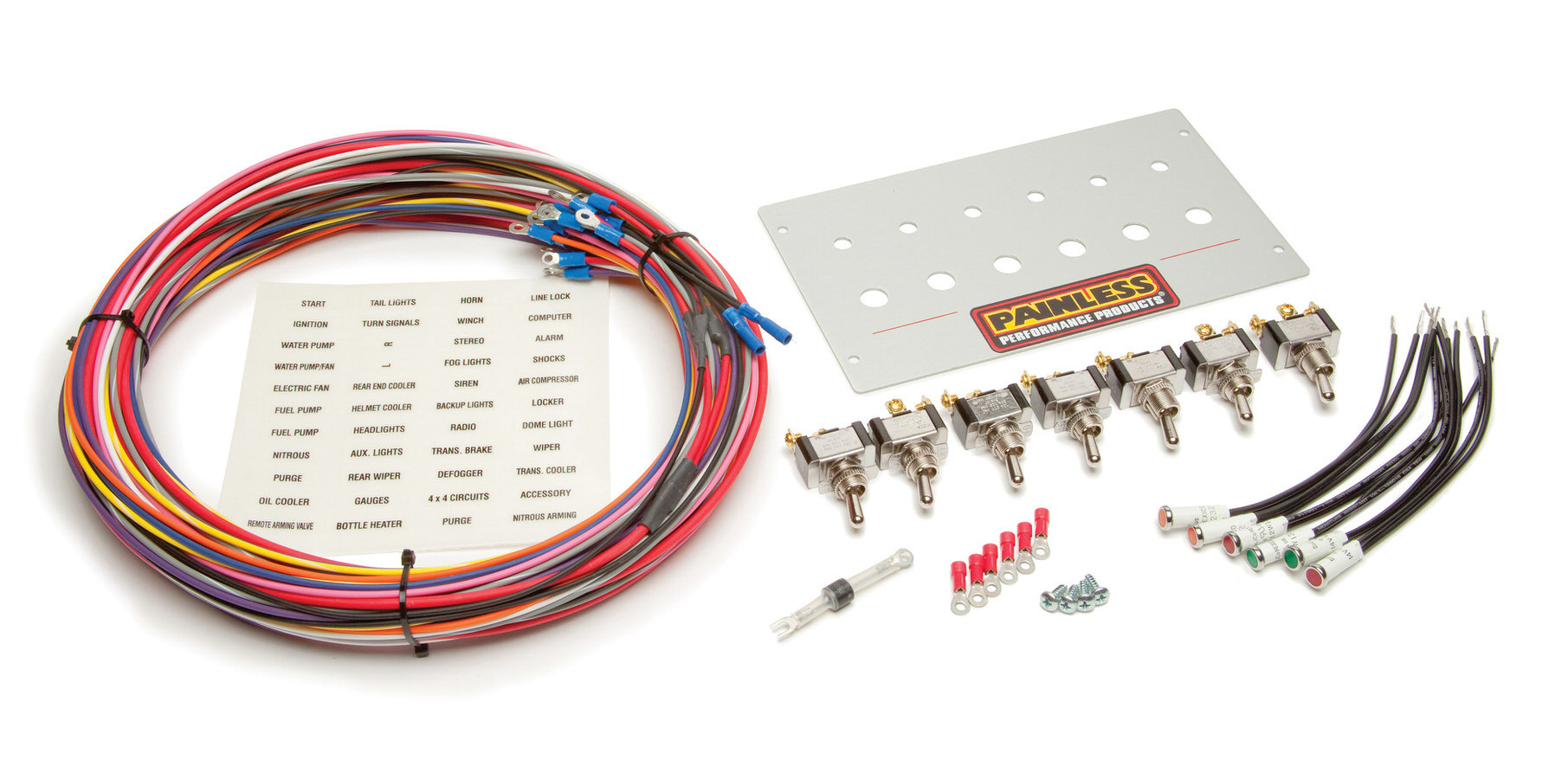 Painless Wiring 50421 Switch Panel, Radio Replacement, 8-1/2 x 5 in, 6 Toggle / 1 Momentary Toggle, Indicator Lights, Harness, Brushed, Ford Mustang 1987-93, Kit