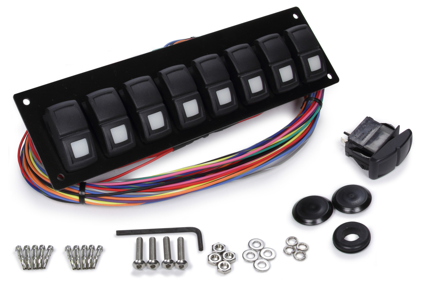 Painless Wiring 58101 Switch Panel, Track Rocker, Dash Mount, 8 Rockers, Installation Hardware / Wiring Harness Included, Indicator Lights, Black, Painless Track Rocker System, Kit