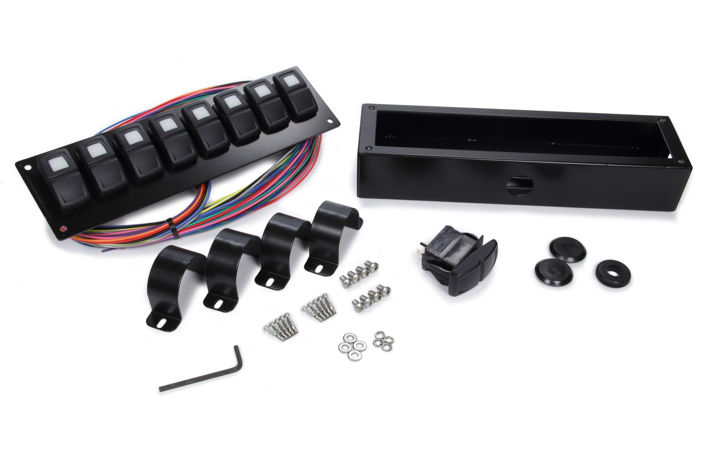 Painless Wiring 58102 Switch Panel, Track Rocker, 1-5/8 or 1-3/4 In Roll Bar Mount, 8 Rockers, Installation Hardware / Wiring Harness Included, Indicator Lights, Black, Painless Track Rocker System, Kit