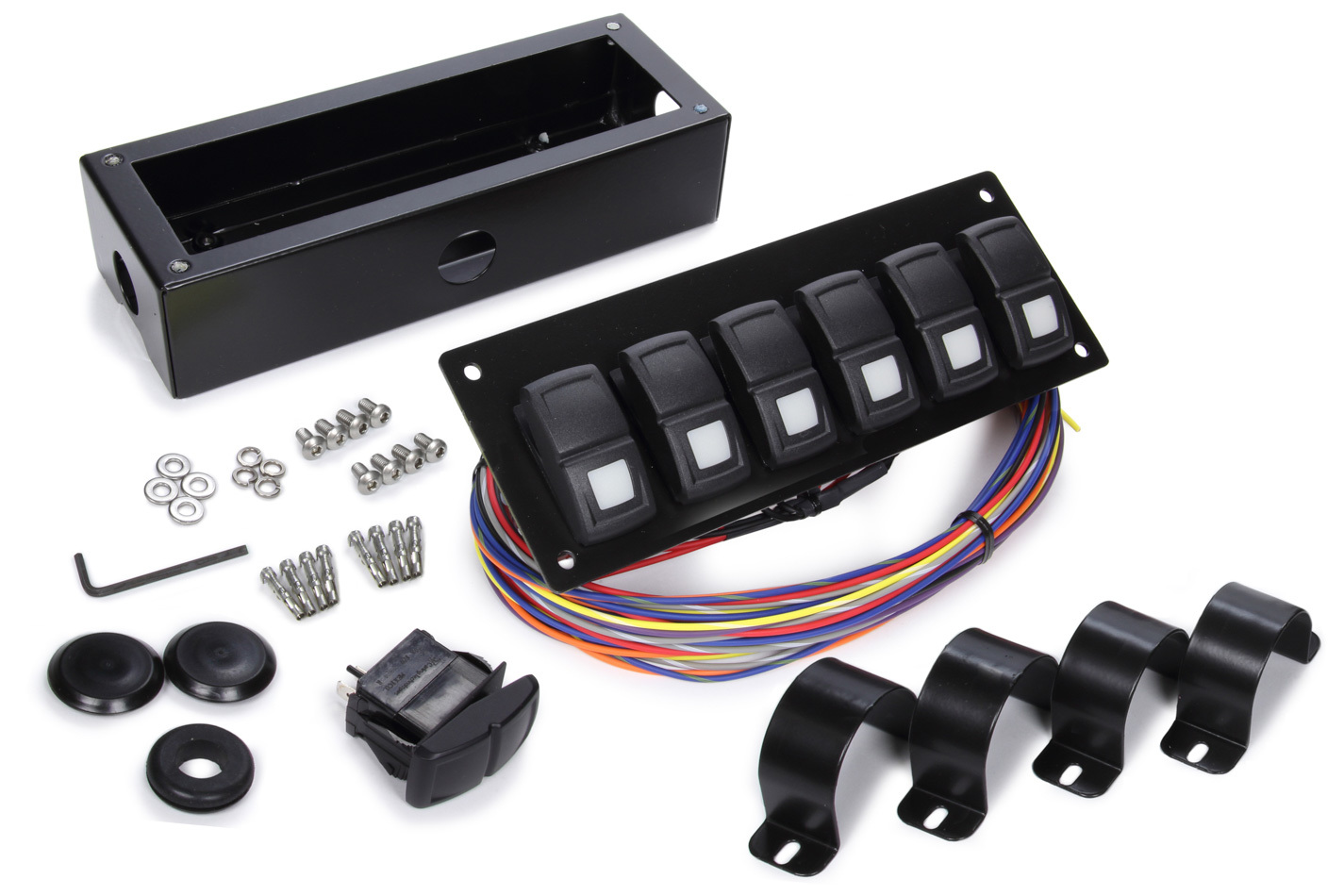 Painless Wiring 58105 Switch Panel, Track Rocker, 1-5/8 or 1-3/4 In Roll Bar Mount, 6 Rockers, Installation Hardware / Wiring Harness Included, Indicator Lights, Black, Painless Track Rocker System, Kit
