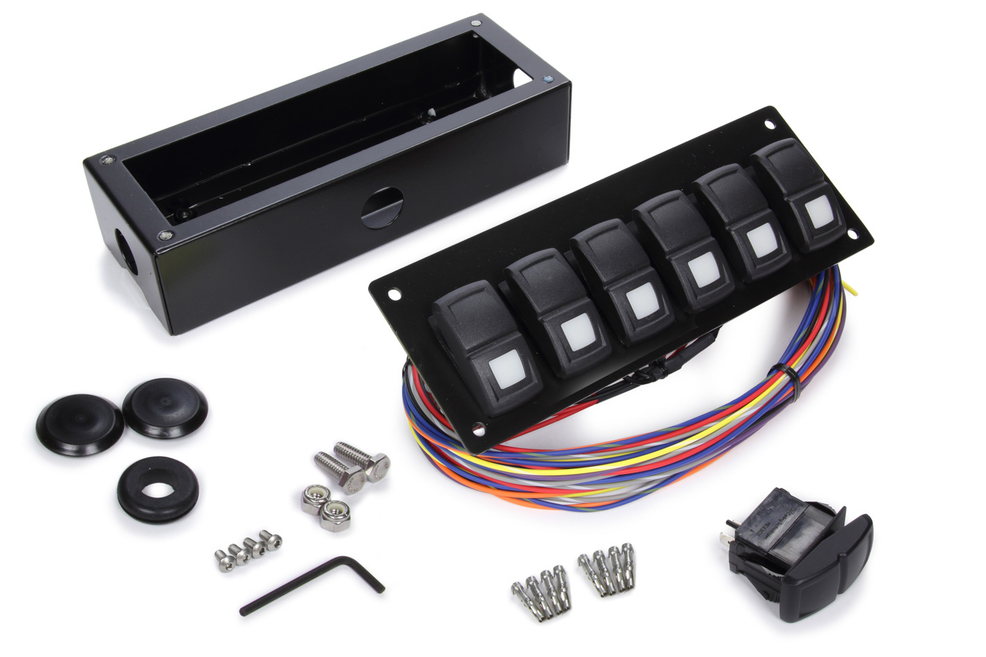 Painless Wiring 58106 Switch Panel, Track Rocker, Under Dash Mount, 6 Rockers, Installation Hardware / Wiring Harness Included, Indicator Lights, Black, Painless Track Rocker System, Kit