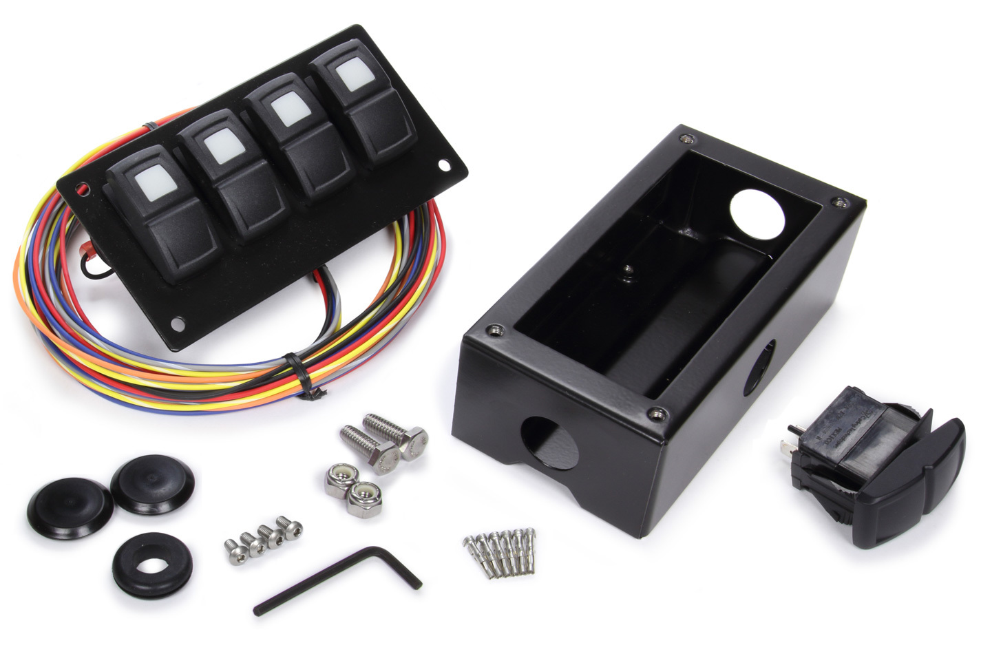 Painless Wiring 58109 Switch Panel, Trail Rocker, Under Dash Mount, 4 Rockers, Installation Hardware / Wiring Harness Included, Black, Painless Track Rocker System, Kit