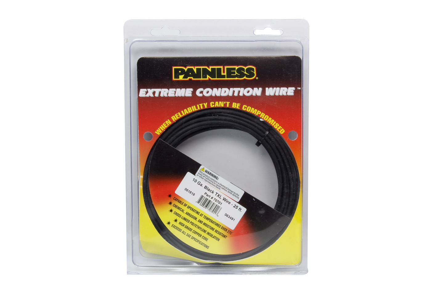 Painless Wiring 70701 Wire, TXL, 10 Gauge, 25 ft Roll, Plastic Insulation, Copper, Black, Each