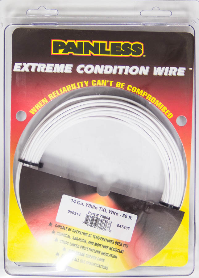 Painless Wiring 70806 Wire, TXL, 14 Gauge, 50 ft Roll, Plastic Insulation, Copper, White, Each