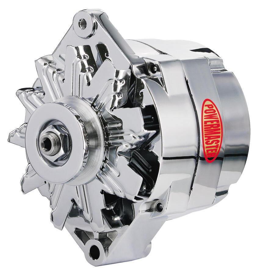 Powermaster 17294 Alternator, GM Original Look, 100 amp, 12V, 1-Wire / 3-Wire, Single V-Belt Pulley, Straight Mount, Chrome, GM, Each
