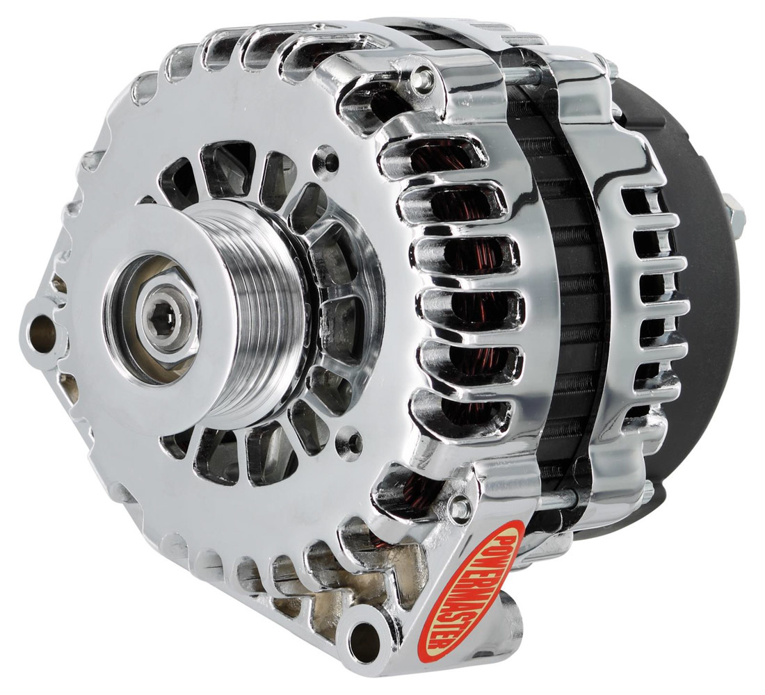 Powermaster 382378 Alternator, AD Style, 220 amp, 12V, OEM 4-Pin, 6 Rib Serpentine Pulley, Chrome, GM, Each