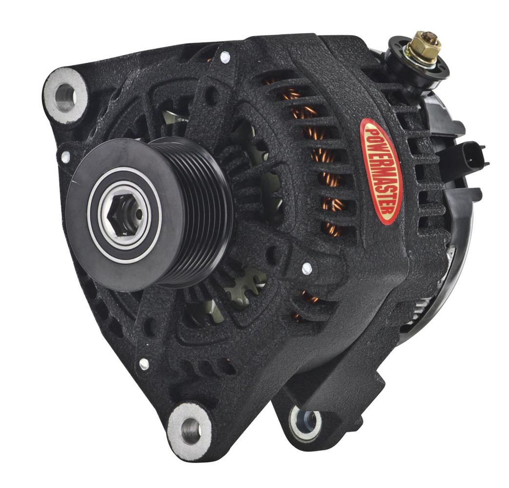Powermaster 51379W Alternator, 245 amp, 12V, 8 Rib Serpentine, Aluminum, Black Powder Coat, Dodge Fullsize Truck 2007-2018, Each