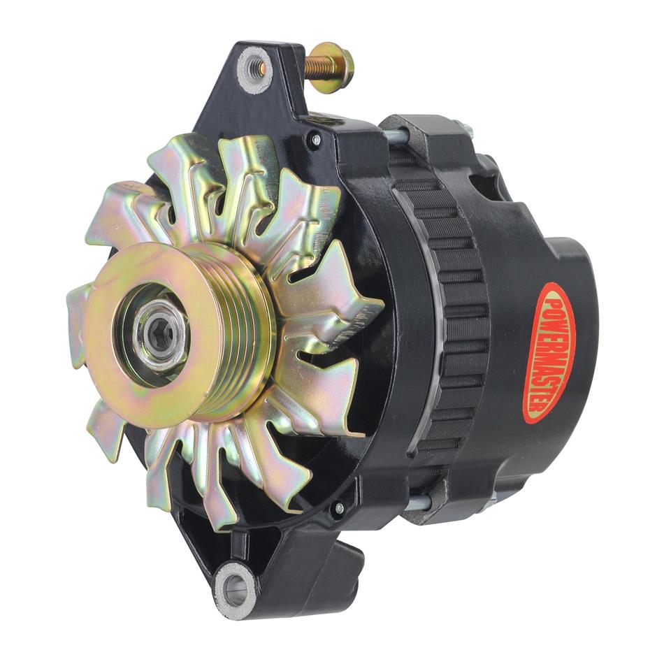 Powermaster 578026 Alternator, CS130, 140 amp, 16V, 1-Wire, 6 Rib Serpentine Pulley, Straight Mount, Black Powder Coat, GM, Each