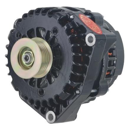 Powermaster 58237 Alternator, AD Style, 220 amp, 12V, OEM 4-Pin, 6 Rib Serpentine Pulley, Black Powder Coat, GM, Each