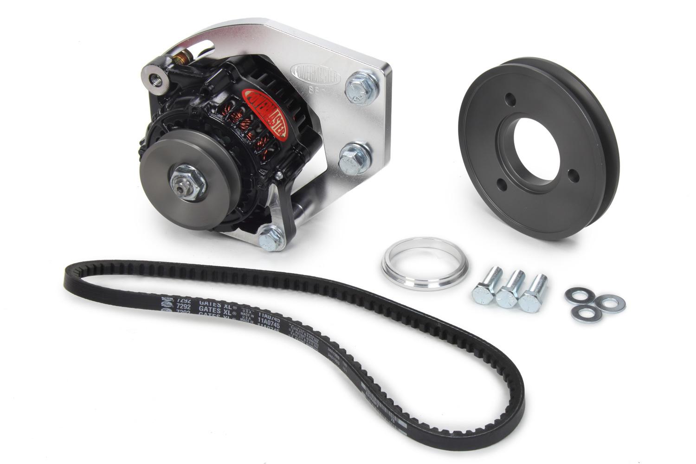 Powermaster 8-880-1 Alternator, Snug Fit, 55 amp, 12V, V-Belt Pulley, Mounting Kit Included, Black Powder coat, Big Block Chevy, Kit