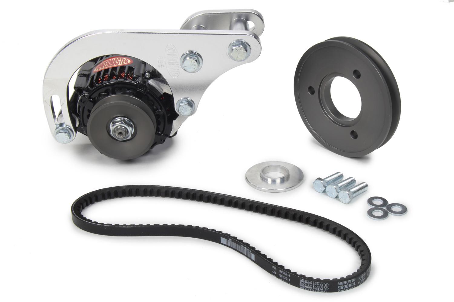 Powermaster 8-895-1 Alternator, Snug Fit, 55 amp, 12V, V-Belt Pulley, Low Mount, Mounting Kit Included, Black Powder coat, Big Bock Chevy, Kit